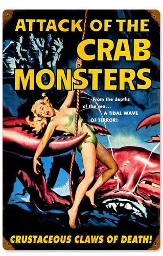 Retro Crab Monsters Vintage Metal Sign 12 x 18 Inches
