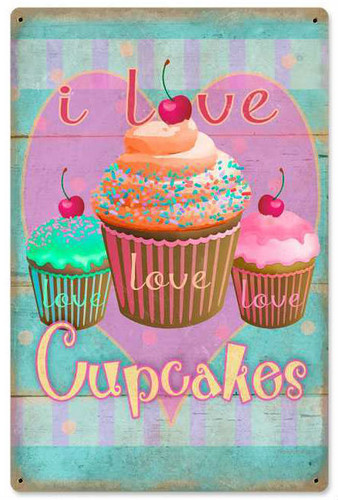 Retro Cupcakes Love Metal Sign 12 x 18 Inches