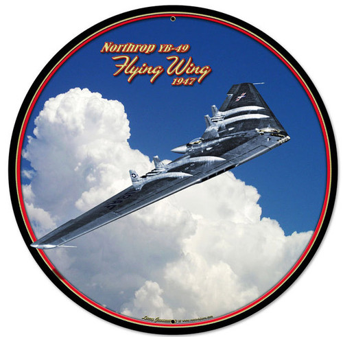 Flying Wing Round Metal Sign
