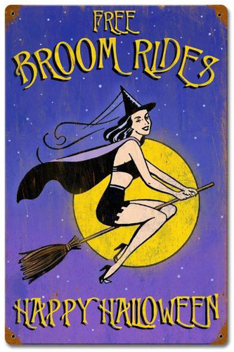 Halloween Broom Rides Vintage Metal Sign 12 x 18 Inches