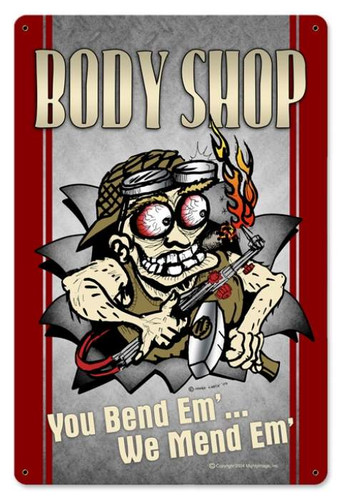Vintage-Retro Body Shop Metal-Tin Sign