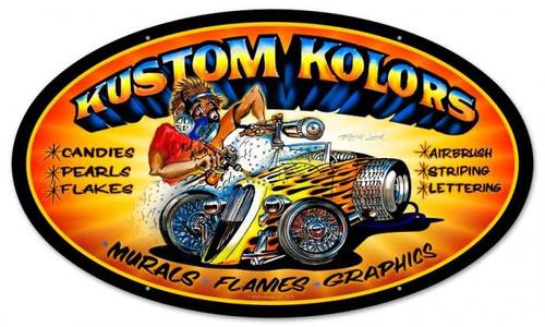 Vintage-Retro Kustom Kolors Oval Metal-Tin Sign