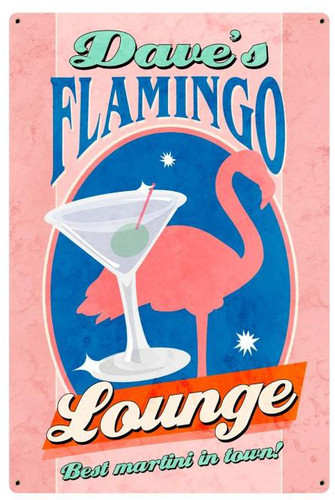 Flamingo Lounge Tin Sign - Personalized  12 x 18 Inches