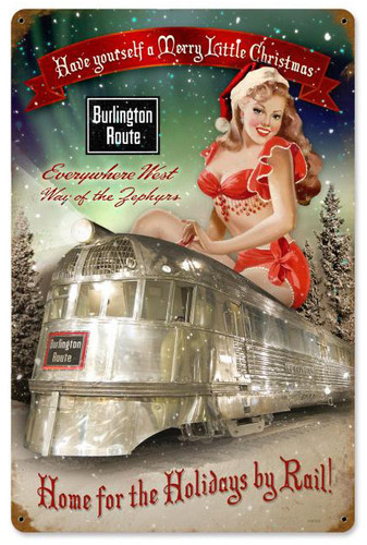 Burlington Holiday Train Metal Sign 12 x 18 Inches
