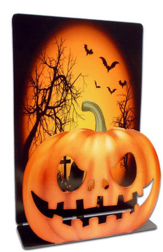Halloween Pumpkin 3D  Table Topper Metal Sign 7 x 9 Inches
