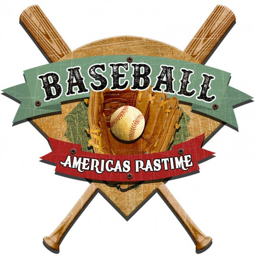 Americas Baseball Pasttime 3D layered Metal Sign 24 x 21 Inches