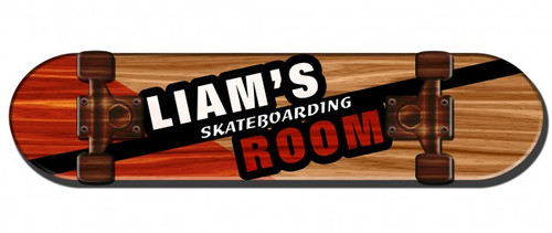 Skateboarding Room 3D Metal Sign - Personalized 28 x 8 Inches