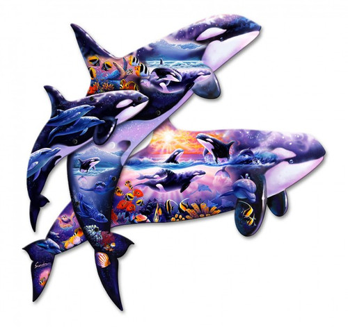 3d Orca Kingdom Metal Sign 24 x 23 Inches