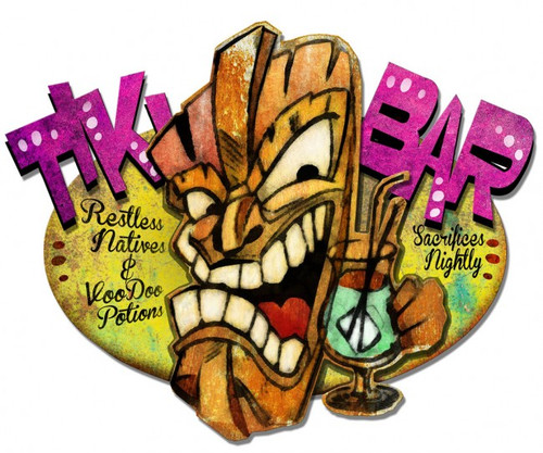 Tiki Bar 3-d Metal Sign 36 x 28 Inches