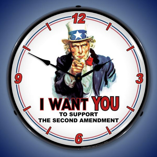 Uncle Sam Support 2nd Amendment Lighted Wall Clock 14 x 14 Inches