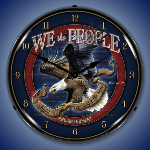 We the People 2nd Amendment Lighted Wall Clock 14 x 14 Inches