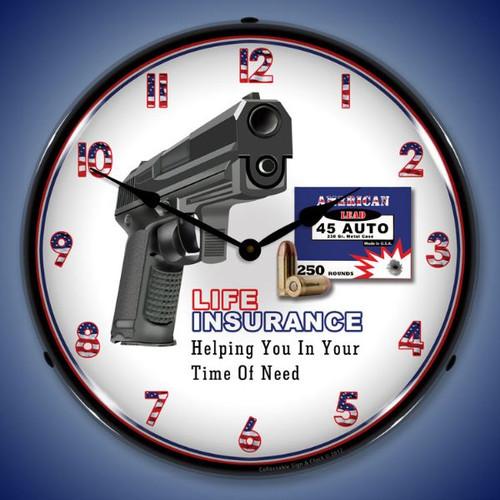 Gun Insurance Lighted Wall Clock 14 x 14 Inches