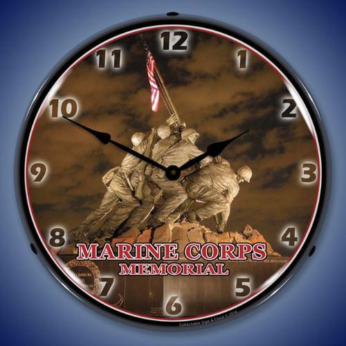 Marine Corps Memorial Iwo Jima Lighted Wall Clock 14 x 14 Inches