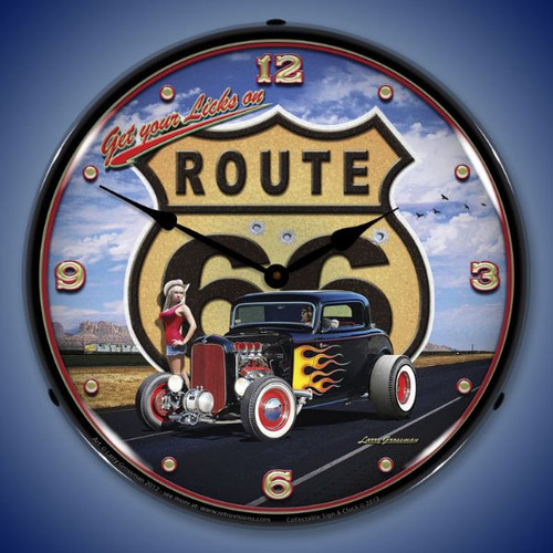 Get Your Licks on Route 66 Lighted Wall Clock 14 x 14 Inches