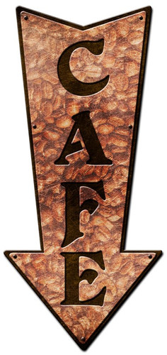 3-D Arrow Cafe Metal Sign 12 x 24 Inches