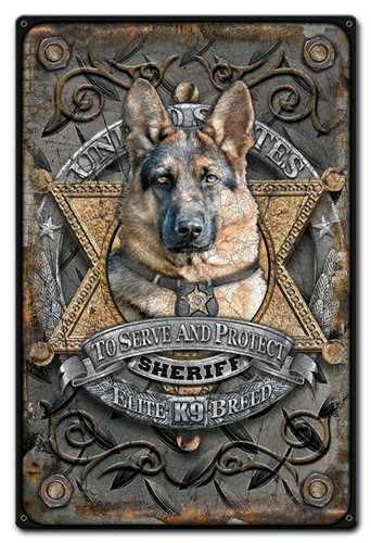 K9 Sheriff Metal Sign 12 x 18 Inches