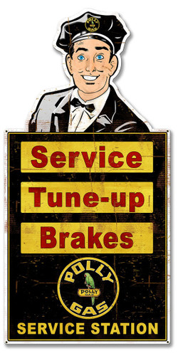 Attendant Polly Service Station Metal Sign 26 x 14 Inches