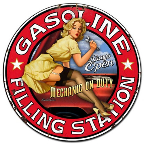 Filling Station Pinup Girl Metal Sign 30 x 30 Inches