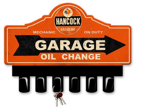 Classic Hancock Gasoline Metal Key Hanger 14 x 10 Inches