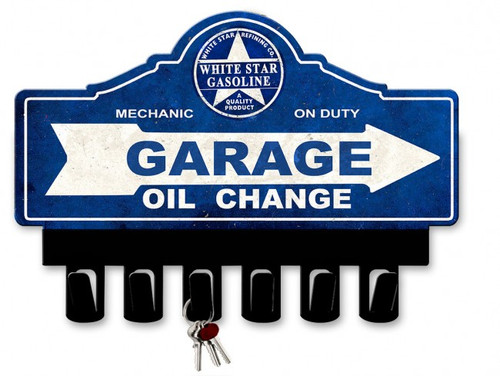 White Star Gasoline Metal Key Hanger 14 x 10 Inches