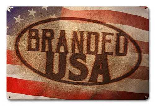 Branded USA Metal Sign 18 x 12 Inches