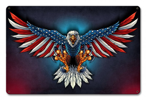 Eagle With US Flag Wings Metal Sign 18 x 12 Inches
