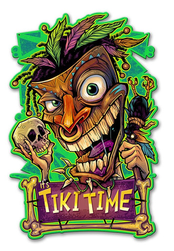 Tiki Time Metal Sign 12 x 19 Inches Inches