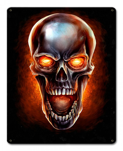 Glowing Metal Skull Metal Sign 12 x 15 Inches