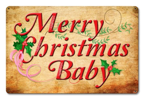 Merry Christmas Baby Metal Sign 18 x 12 Inches