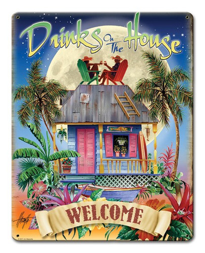 Drinks On The House Metal Sign 12 x 15 Inches