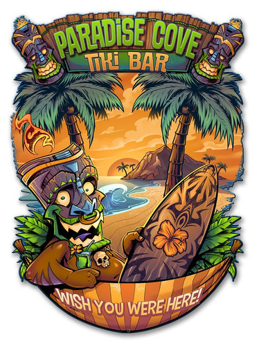 Tiki Man Hammock Metal Sign 18 x 13 Inches