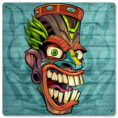 Tiki Head Metal Sign 12 x 12 Inches