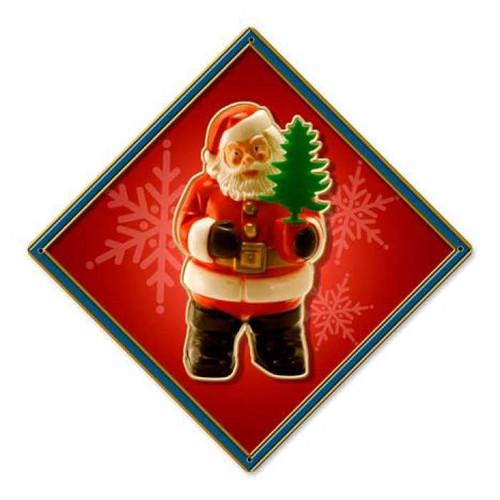 Vintage-Retro Santa Tree Metal-Tin Sign