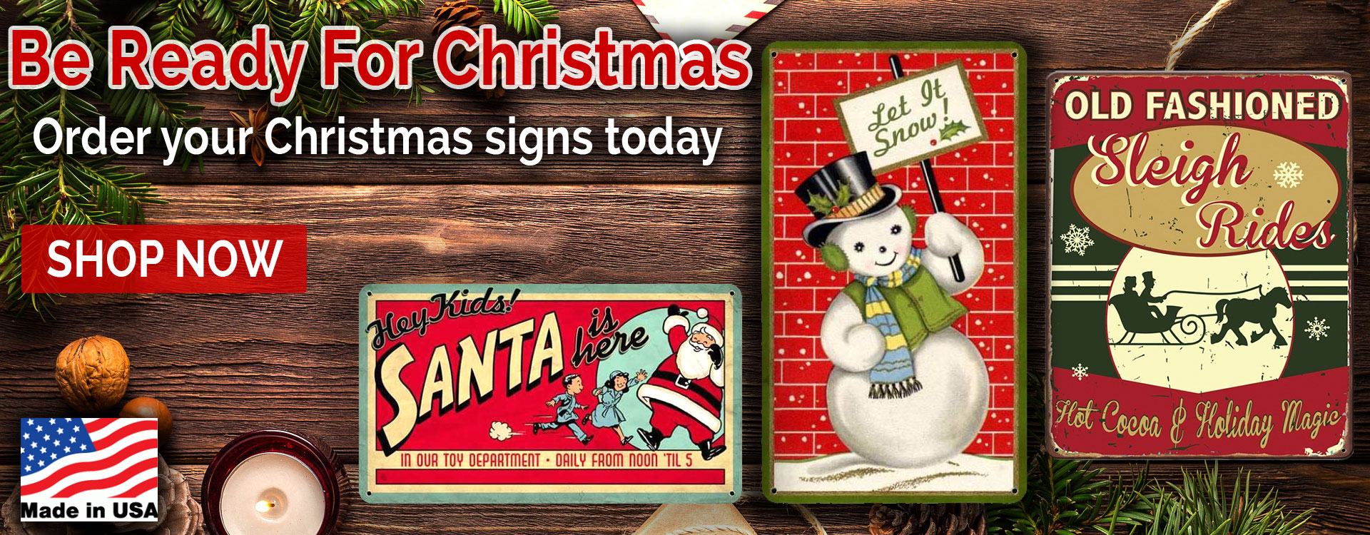 christmas metal signs