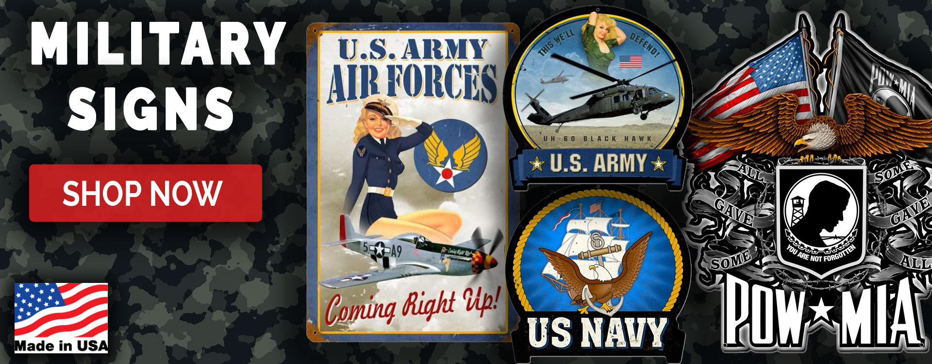 military metal signs