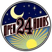 Vintage-Retro Open 24 Hours Round Metal-Tin Sign