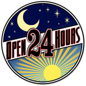 Vintage-Retro Open 24 Hours Round Metal-Tin Sign