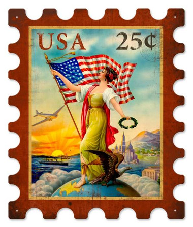 Vintage-Retro USA Eagle Stamp Metal-Tin Sign