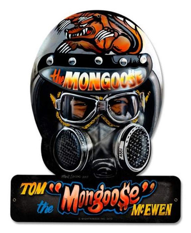 Vintage-Retro Mongoose Helmet Metal-Tin Sign