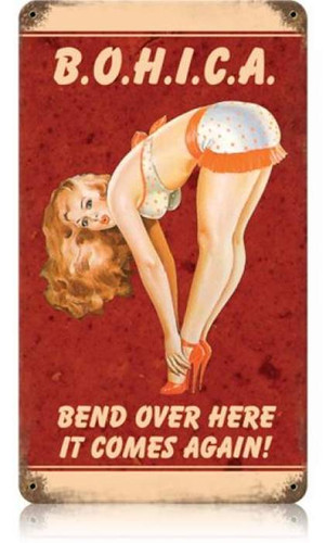 Vintage Bohica Pin Up Girl Metal Sign
