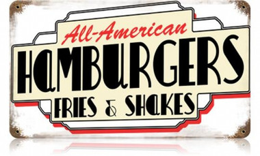 Vintage-Retro All American Hamburgers Metal-Tin Sign