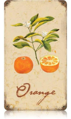 Vintage-Retro Orange Metal-Tin Sign