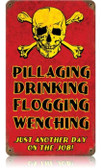 Vintage-Retro Pillaging Drinking Pirates Metal-Tin Sign