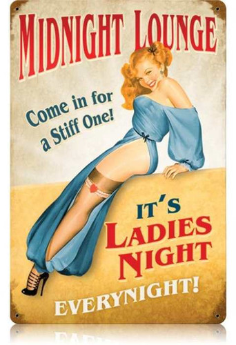 Vintage-Retro Midnight Lounge Metal-Tin Sign