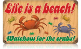 Vintage-Retro Lifes a Beach Crabs Metal-Tin Sign