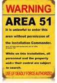 Vintage-Retro Area 51 Metal-Tin Sign LARGE
