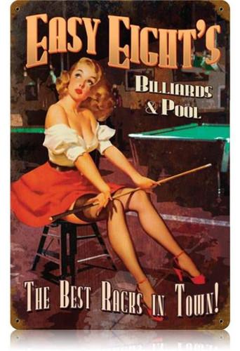 Vintage Easy Eights Pool Pin Up Girl Metal Sign