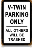 Vintage-Retro V-Twin Parking Metal-Tin Sign