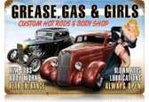 Vintage-Retro Grease Gas Girls Metal-Tin Sign