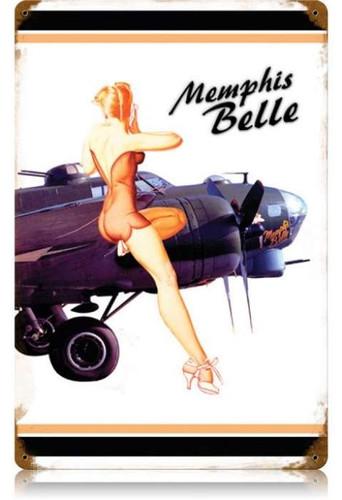 Vintage Memphis Belle White Pin Up Girl Metal Sign